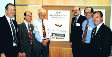 Minister Roger Maxwel, Paul Steel and Erol Slyfield - First BDQA Award
